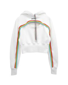 Palm Angels RAINBOW CUT-OUT LOGO HOODY / 0310 : OFF WHITE BLACK