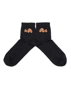 Palm Angels BEAR SHINY SOCKS / 1060 : BLACK BROWN