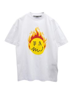 Palm Angels BURNING HEAD TEE / 0118 : WHITE YELLOW