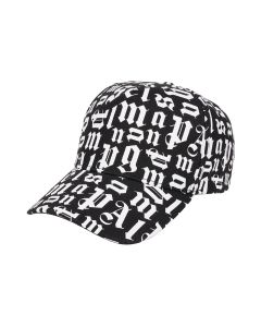 Palm Angels BROKEN MONOGRAM LOGO CAP / 1001 : BLACK WHITE
