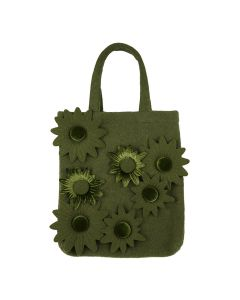PAULA CANOVAS DEL VAS GREEN TOTE BAG WITH FLOWERS / GREEN