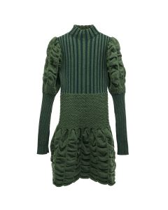 PAULA CANOVAS DEL VAS SHORT KNIT DRESS / GREEN