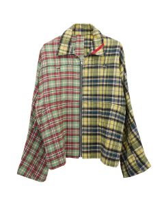 PHINGERIN ZIP RUN JACKET PATCH / A : GREEN-YELLOW PLAID