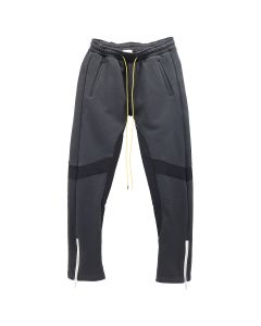 RHUDE BOTTOM ZIP NYLON SWEATPANTS / BLACK