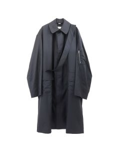 RANDOM IDENTITIES SATIN OVERCOAT / NAVY