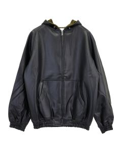 RANDOM IDENTITIES FAUX LEATHER HOODIE / BLACK