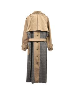 rokh COMBI PANEL TRENCH / 891 : BURLYWOOD WITH BEIGE RED CHECK