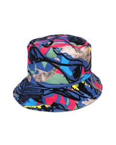 TOLU COKER PRINTED DENIM BUCKET HAT / INDIGO BASE