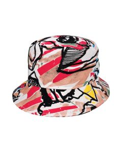 TOLU COKER PRINTED DENIM BUCKET HAT / WHITE BASE