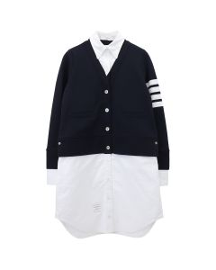 [お問い合わせ商品] THOM BROWNE. V NECK CARDIGAN IN CLASSIC LOOP BACK W/ ENGINEERED 4 BAR AND TROMPE L'OEIL OXFORD SHIRT DRESS / 415 : NAVY