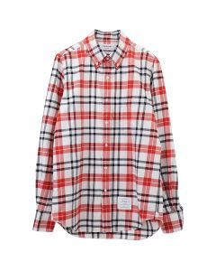 [お問い合わせ商品] THOM BROWNE. STRAIGHT FIT BUTTON DOWN LONG SLEEVE SHIRT W/ CB RWB GG IN TB TARTAN FLANNEL SHIRTING / 960 : RWB WHT