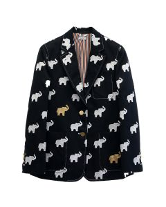 [お問い合わせ商品] THOM BROWNE. SB SACK JACKET IN ELEPHANT ICON EMBROIDERED COTTON TWILL / 415 : NAVY