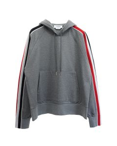 [お問い合わせ商品] THOM BROWNE. HOODIE PULLOVER W.RIB STRIPE IN INTERLOCK / 035 : MED GREY