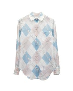 [お問い合わせ商品] THOM BROWNE. CLASSIC LONG SLEEVE ROUND COLLAR SHIRT IN CLASSIC ARGYLE FUN MIX ANIMAL ICON PRINTED SILK TWILL / 480 : LIGHT BLUE