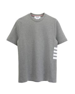 [お問い合わせ商品] THOM BROWNE. SHORT SLEEVE RIB CUFF TEE W/ ENGINEERED 4 BAR STRIPE IN CLASSIC PIQUE / 055 : LIGHT GREY