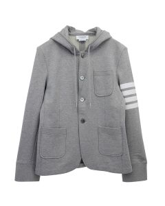 [お問い合わせ商品] THOM BROWNE. HOODED SPORT COAT IN CLASSIC LOOP BACK WITH ENGINEERED 4 BAR / 055 : LIGHT GREY