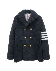 [お問い合わせ商品] THOM BROWNE. UNCONSTRUCTED CLASSIC PEACOAT W/ SEAMED IN 4 BAR STRIPE IN DYED SHEARLING / 415 : NAVY
