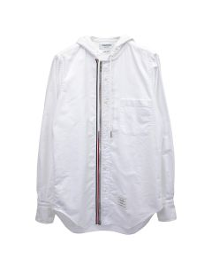 [お問い合わせ商品] THOM BROWNE. HOODED ZIP FRONT BUTTON DOWN LONG SLEEVE SHIRT IN OXFORD / 100 : WHITE