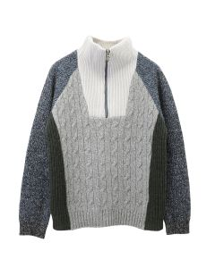 D.TT.K HALF ZIP MIXED KNIT TOPS / GRAY MULTI