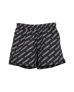 VETEMENTS ALL-OVER LOGO SWIMSHORTS / BLACK-WHITE