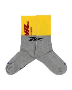 VETEMENTS DHL CUT-UP LOGO SOCKS / YELLOW-GREY