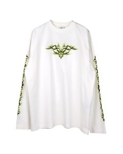 VETEMENTS TRIBAL EMBROIDERED LONGSLEEVE / WHITE-NEON YELLOW