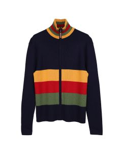 WALES BONNER LOVER'S ROCK ZIP-UP CARDIGAN / NAVY-MULTI