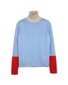 WALES BONNER GOTO COLOUR BLOCK ROLL NECK SWEATER / IVORY-PALE BLUE-RED