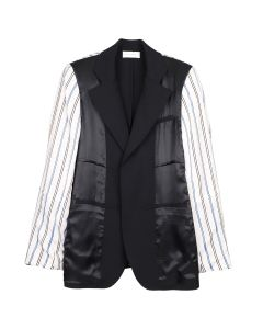 WALES BONNER STERLING PATCHWORK TAILORED JACKET / BLACK-IVORY