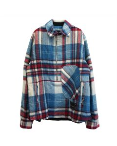 WE11DONE WD CHECK ANORAK WOOL SHIRT / BLUE