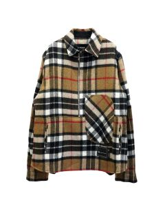 WE11DONE WD CHECK ANORAK WOOL SHIRT / CAMEL