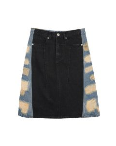 WE11DONE WOMENS CONTRAST PANEL DESTROYED DENIM SKIRT / MIX