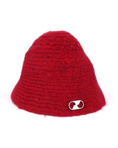 WE11DONE EMBROIDERED LOGO METAL NARROW BUCKET HAT / RED