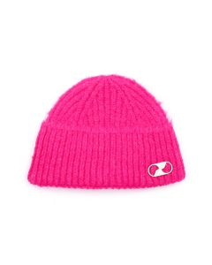 WE11DONE EMBROIDERED LOGO METAL SHORT BEANIE / PINK