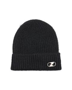 WE11DONE EMBROIDERED LOGO METAL LONG BEANIE / BLACK