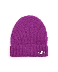 WE11DONE EMBROIDERED LOGO METAL LONG BEANIE / PURPLE