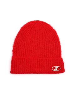 WE11DONE EMBROIDERED LOGO METAL LONG BEANIE / RED