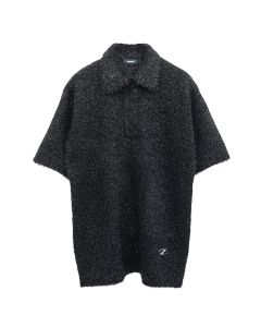 WE11DONE GLITTER COLLAR KNIT SHIRT / BLACK