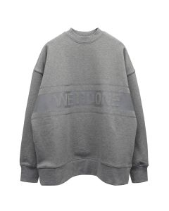 WE11DONE REFLECTIVE LOGO PULLOVER / MELANGE GREY