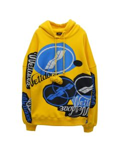 WE11DONE STACKED LOGO HOODIE / YELLOW