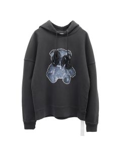 WE11DONE PEARL NECKLACE TEDDY HOODIE / CHARCOAL