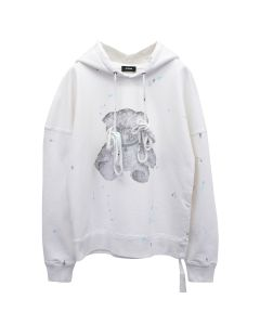 WE11DONE PEARL NECKLACE TEDDY HOODIE / WHITE