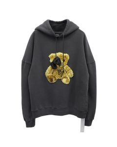 WE11DONE EMBROIDERED TEDDY HOODIE / BLACK