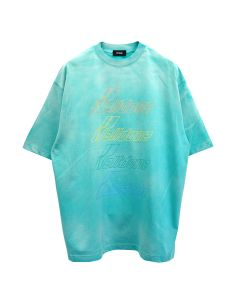 WE11DONE IRIDESCENT LOGO HAND-BLEACHED T-SHIRT / GREEN