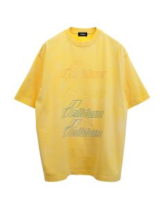 WE11DONE IRIDESCENT LOGO HAND-BLEACHED T-SHIRT / YELLOW