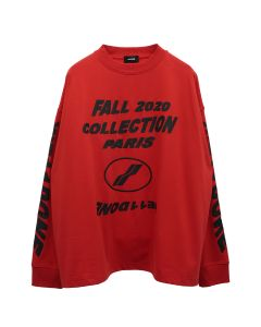 WE11DONE FW20 COLLECTION LONG SLEEVE T-SHIRT / RED