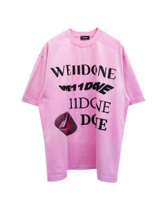WE11DONE WASHED LOGO T-SHIRT / PINK