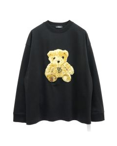 WE11DONE EMBROIDERED TEDDY LONG SLEEVE T-SHIRT / BLACK