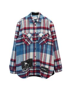 WE11DONE WD PRINT WOOL SHIRT / BLUE