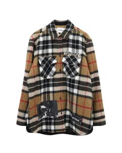 WE11DONE WD PRINT WOOL SHIRT / CAMEL